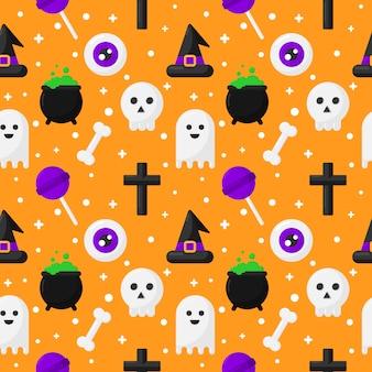 Nahtlose muster glücklich halloween icons isoliert auf orange
