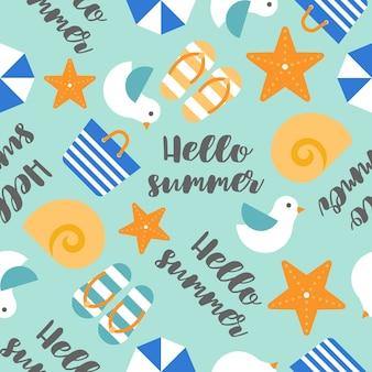 Nahtlose muster hallo sommerhandschrift