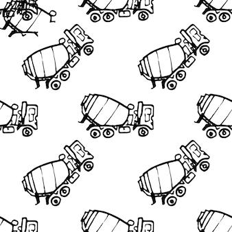 Nahtlose muster handgezeichnete betonmischer doodle. symbol für den skizzenstil. dekorationselement. isoliert auf weißem hintergrund. flaches design. vektor-illustration.
