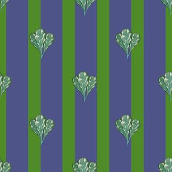 Nahtlose muster haufen mangold salat auf streifen lila hintergrund. abstrakte verzierung mit salat. geometrische pflanzenvorlage für stoff. design-vektor-illustration.