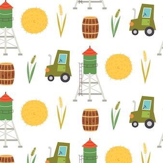 Nahtlose muster heuhaufen traktor. sich wiederholender hintergrund mit rustikalem motiv. vektor-hand zeichnen papier, kinderzimmer-design-tapete