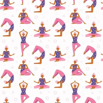 Nahtlose muster junge frau macht yoga und meditation zu hause. verschiedene yoga-posen und asanas. mädchen, das sport, übung, training in fitness, dehnung, aufwärmen, freizeit tut.