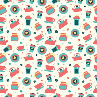 Nahtlose muster kaffee inmitten einer flachen design-stil