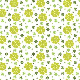 Nahtlose muster-klee-wiederholbare grüne blatt-natur