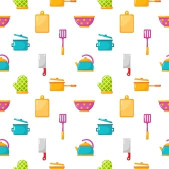 Nahtlose muster küchengeräte und geschirr icons set isolat auf weiß