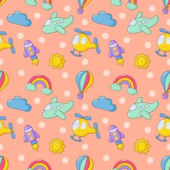 Nahtlose muster luftverkehr cartoon-stil. hubschrauber, flugzeug, regenbogen, rakete, sonne, wolken