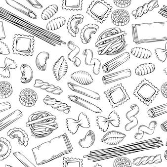 Nahtlose muster-makkaroni-umrissillustration der italienischen pasta