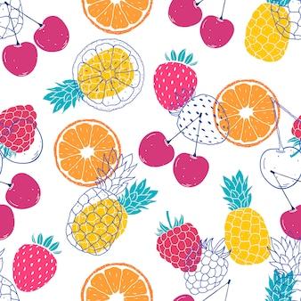 Nahtlose muster mit bunten früchten