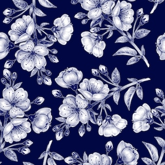 nahtlose Muster mit Kirschblüte.