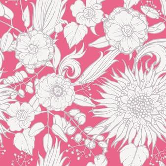Nahtlose muster mit mohn und sonnenblumen