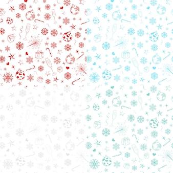 Nahtlose muster mit schneeflocken und weihnachtssymbolen