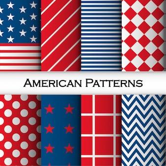 Nahtlose muster mit streifen, raute, quadrate, punkte und amerikanische flagge raute gesetzt