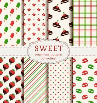 Nahtlose muster mit süßigkeiten. vektor festgelegt.