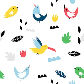 Nahtlose muster mit vögeln im skandinavischen stil. süß, modern