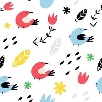 Nahtlose muster mit vögeln im skandinavischen stil.