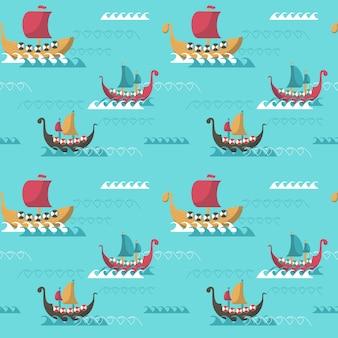 Nahtlose muster mit wikingerzeit langschiffe