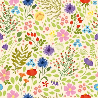 Nahtlose muster mit wildblumen