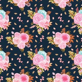 Nahtlose muster mit wunderschönen blauen und rosa blüten