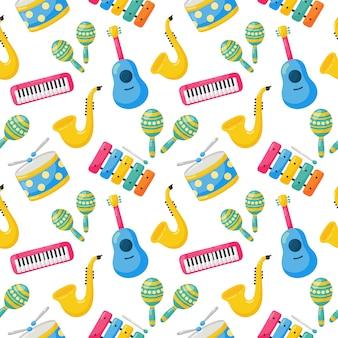 Nahtlose muster musikinstrumente isoliert