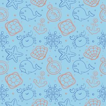 Nahtlose muster nautische ikonen cartoon-stil. isoliert auf blauem hintergrund.