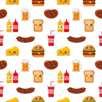 Nahtlose muster niedlichen lustigen fast-food-kawaii-stil