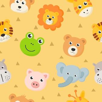 Nahtlose muster niedlichen tier gesichter icon set für kinder auf gelbem grund isoliert.