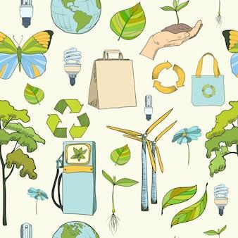 Nahtlose muster ökologie und umwelt