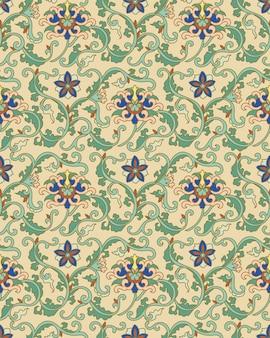 Nahtlose muster orientalische chinesische botanische garten spirale kreuzblatt rebe blume
