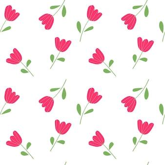 Nahtlose muster rosa tulpen auf weißem hintergrund