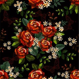 Nahtlose muster rosen stickerei stile und schmetterling