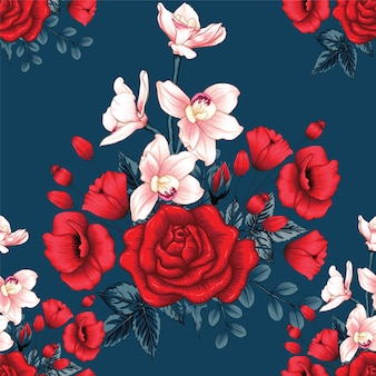 Nahtlose muster rote rosen-, orchideen- und mohnblumenblumen