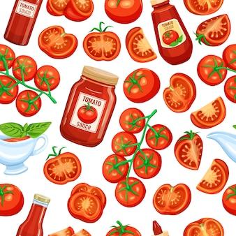 Nahtlose muster rote tomate auf einem zweig und scheiben mit sauce. gemüse für menü markt und landwirtschaftliche produkte.
