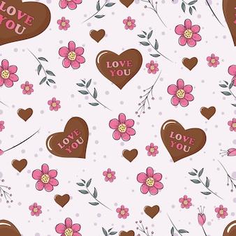 Nahtlose muster schokolade, liebe und blume valentinstag