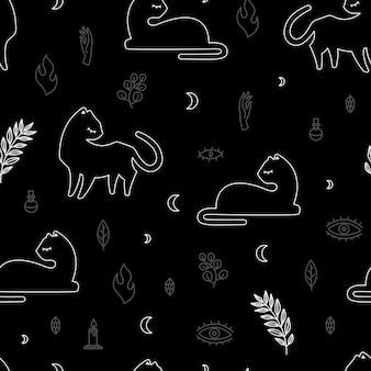 Nahtlose muster schwarze katze verschiedene posen und dekoratives boho-stilelement, vektor wiederholen mystische illustration auf schwarzem hintergrund