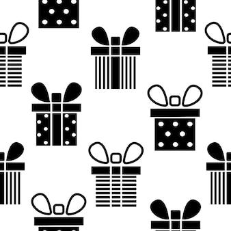 Nahtlose muster schwarze silhouette geschenkbox vorhanden muster vektor flache illustration
