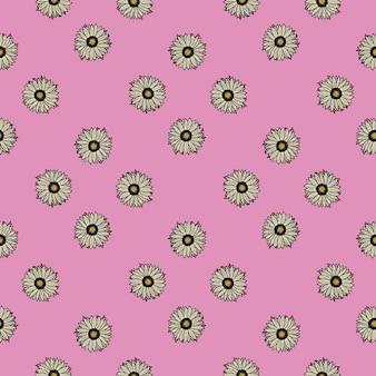 Nahtlose muster sonnenblumen rosa hintergrund. einfache textur mit sonnenblumen und blättern.