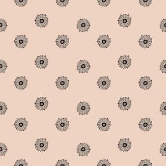 Nahtlose muster sonnenblumen rosa hintergrund. minimalistische textur mit sonnenblumen und blättern. geometrische blumenvorlage im doodle-stil für stoff. design-vektor-illustration.