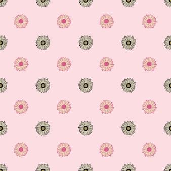 Nahtlose muster sonnenblumen rosa hintergrund. minimalistische textur mit verschiedenen sonnenblumen und blättern. geometrische blumenvorlage im doodle-stil für stoff. design-vektor-illustration.