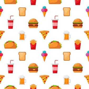 Nahtlose muster süß lustig fast-food-kawaii-stil-ikone, isoliert auf weiss