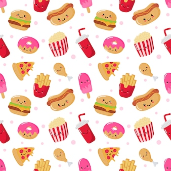 Nahtlose muster süß lustig fast-food-kawaii-stil