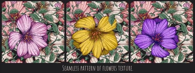 Nahtlose muster textur kunst von blumen und blättern von hand zeichnung design.