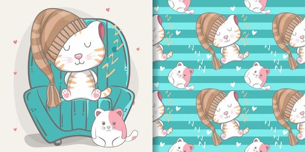 Nahtlose muster- und illustrationskarte der netten katze