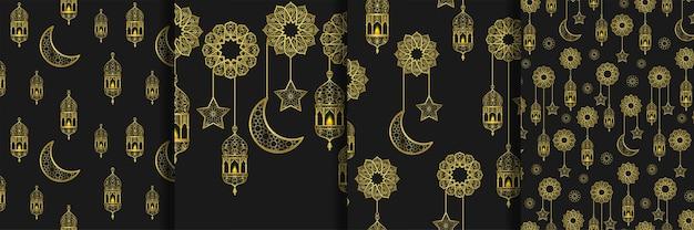 Nahtlose muster und rahmen mit arabischen goldenen laternen und goldenen halbmondsternen