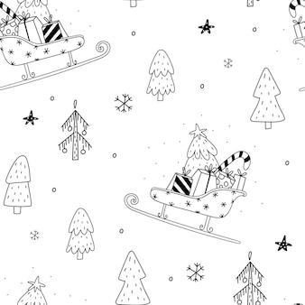 Nahtlose muster-vektor-illustration gemütliches rustikales frohe weihnachten-muster