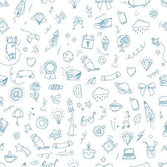Nahtlose muster von doodle-elementen,