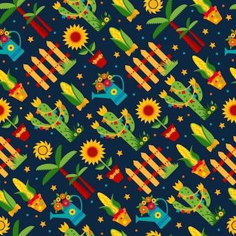 Nahtlose muster von festa junina dorffest in lateinamerika icons set in der hellen farbe flach artdekoration