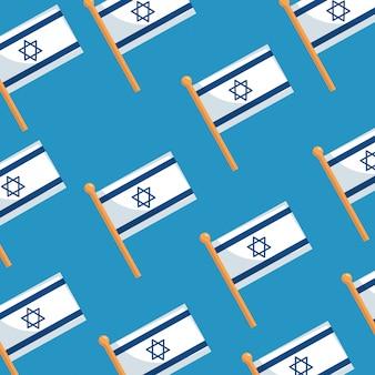 Nahtlose muster von flaggen israel patriotisch