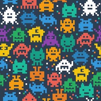 Nahtlose muster von fröhlichen und freundlichen pixel monster
