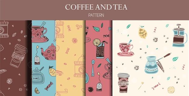 Nahtlose muster von handgezeichneten kaffee- und tee-doodles eine reihe von isolierten vektorzeichnungen