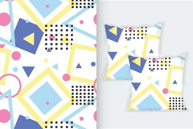 Nahtlose muster von memphis mit quadratischem kissen-design